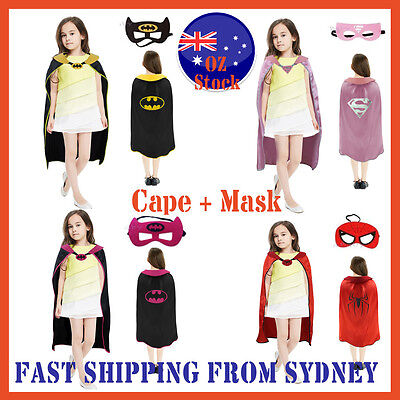 Kids Superhero Cape & Mask Boy Girl Party Costume Set Batman Spiderman Halloween