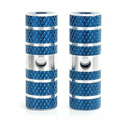 2X(2x BMX Mountain Bike Axle Pedal Alloy Foot Stunt Pegs Cylinder Blue DW