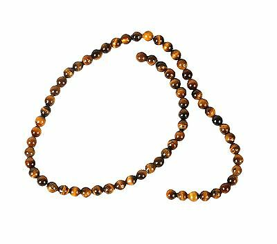 String of 6mm Round Tiger Eye Beads for Jewellery Making (T4AS)