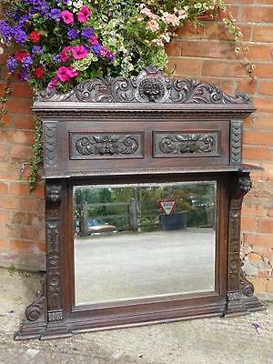 A Stunning Antique Green Man Carved Oak Overmantle Wall Mirror