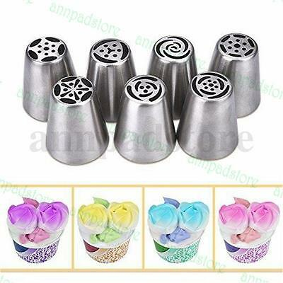 7pcs Russian Tulip Icing Piping Nozzles Cake Pastry Sugarcraft Plunger Tip Tool