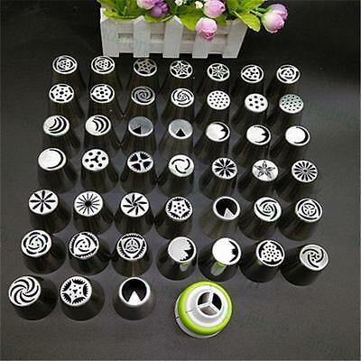 45PC New Russian Icing Piping Nozzles Tips Cake Decorating Pastry Tool+Converter
