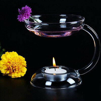 Glass Candlestick Candle Holder Stand Aroma Oil Burner Warmer Diffuser Stove