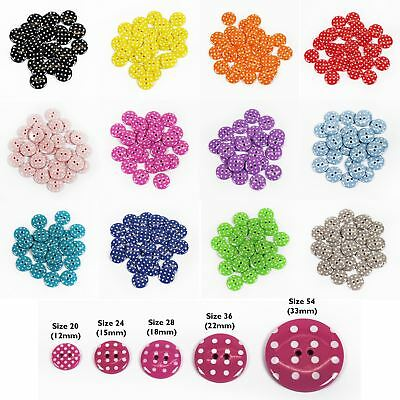Spotty Polka Dot Buttons 12 Colours 5 Sizes Packs of 2,10