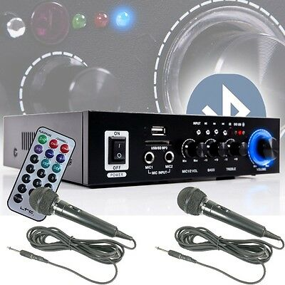 Karaoke Verstärker Bluetooth USB SD MP3 Treble Bass Regler Fernbedienung Mikros