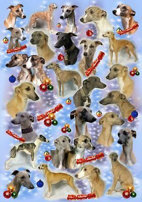 Whippet Dog Christmas Wrapping Paper Design by Starprint