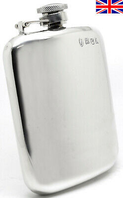 Hand Made Sheffield Pewter Hip Flask, 6oz Captive Top with Free Engraving