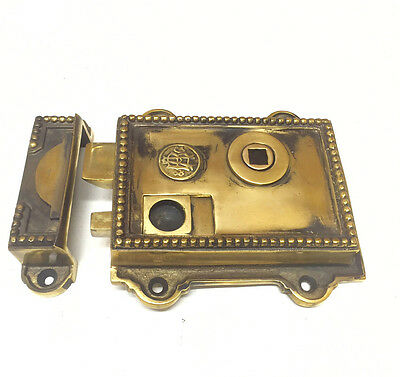 Solid Brass Regency Antique Victorian Period Traditional Door Rim Latch