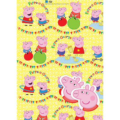 Peppa Pig 2 Sheets Birthday Wrapping Paper And 2 Tags, New, Christmas