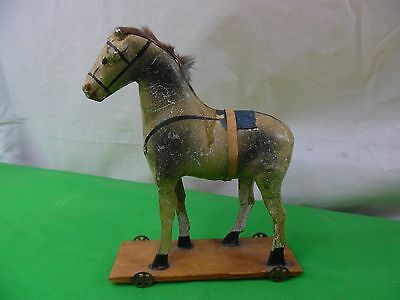 Antique Paper Mache Horse Pull Toy