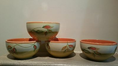 The Cellar by Macy's 4 Cereal/Soup/Salad Bowls Leaf Design Yellow,Green,Orange