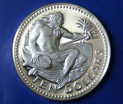 Barbados 10 Dollars 1975 Proof World Coin Neptune God of the Sea Whale