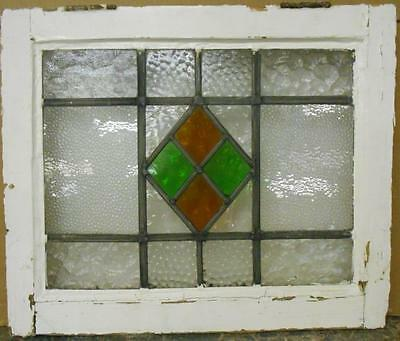 "OLD ENGLISH LEADED STAINED GLASS WINDOW Pretty Geometric Design 20.25"" x 17"""