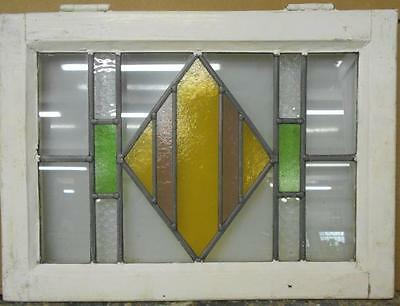 "OLD ENGLISH LEADED STAINED GLASS WINDOW Pretty Geometric Design 21.5"" x 15.75"""