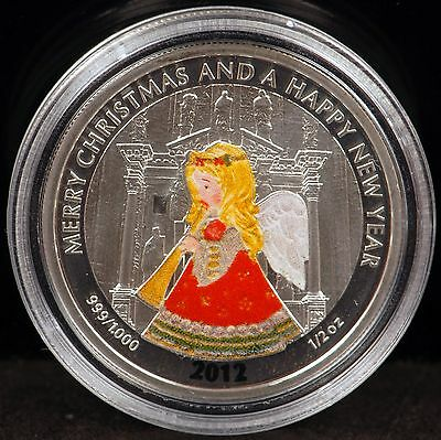 """2012 Liberia """"Merry Christmas and a Happy New Year"""" 1/2 Oz. .999 Fine Silver $2"""