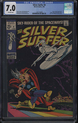 Silver Surfer #4 CGC 7.0 Thor Loki App OW Pages Low Print Run
