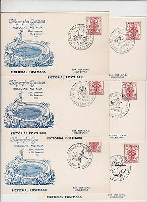 Olympic Games stamp 4d Australia 1956 Arnold Wheeler postcard set of 52 postmark