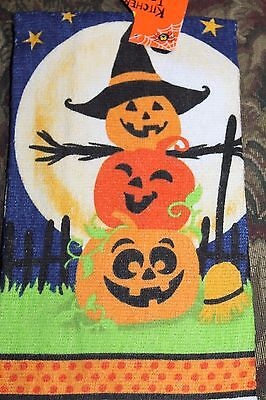 NEW PRINTED KITCHEN TERRY DISH TOWEL  Halloween Pumpkin Happy Carved Witch