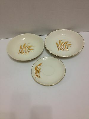 Golden Wheat Bowls Saucer Vintage Antique Oven Proof 22K Gold USA