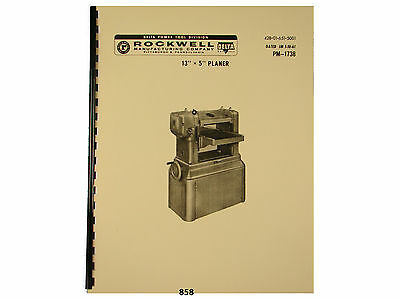 "Delta Rockwell 13""x5""  Wood Planer  Instruction & Parts Manual *858"