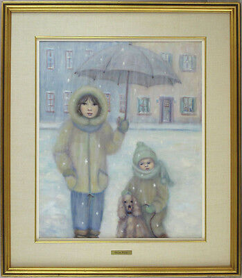 Denise Poirier Canadian Quebec Listed Vintage Original Oil Children Portrait