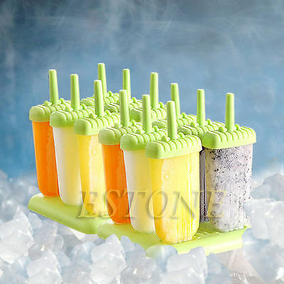 6 Cells DIY Frozen Ice Cream Popsicle Icepop Mold Maker Block Mould Homemade Set