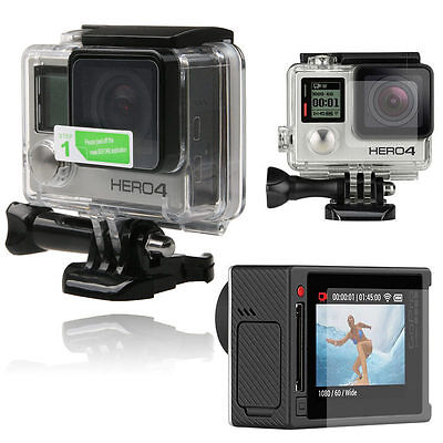 HD Clear LCD Screen Guard + Housing Camera Lens Protector Film For Gopro Hero 4