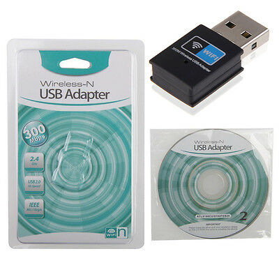 Mini 300Mbps USB Wireless WiFi Adapter Receiver Dongle 802.11b/g/n Network New