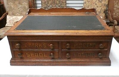 Antique Clark's Mile End 4 Drawer Sewing Thread Spool Counter Desk Cabinet Ink