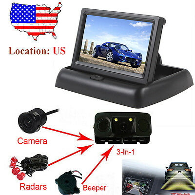 "4.3"" Car Rear view Monitor+ Wireless Beeper Radars 3 In 1 Camera Night Vision"