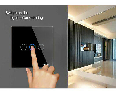 1 Way 1/2/3 Gang LED Crystal Glass Panel Wall Light EU Smart Touch Screen Switch