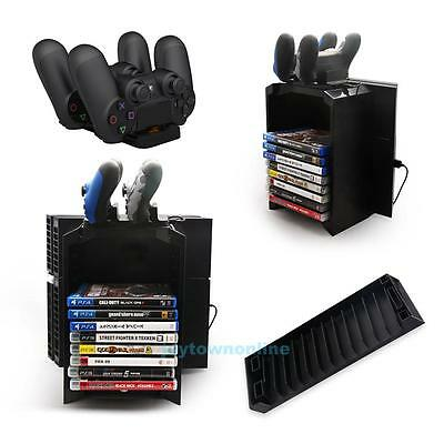Game Disk Storage Tower Shelf with Dual Dock Controller Charging Station for PS4