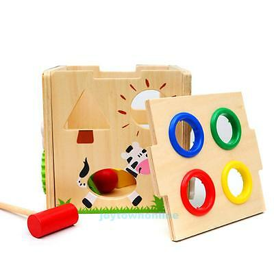 Wooden Hammer Ball Game Children Kids Educational Creative Hammering Toy Baby