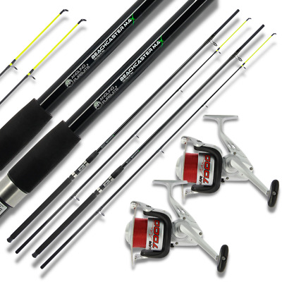 SEA FISHING SET UP 2 x 12ft RODS BEACHCASTER 2 x SEA FISHING REELS