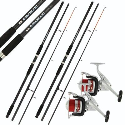 SEA FISHING SET UP 2 x 14ft RODS BEACHCASTER 2 x SEA FISHING REELS