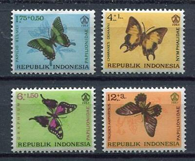 38190) INDONESIA 1963 MNH** Social day, butterflies 4v