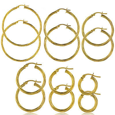 9Ct Gold Round Creole Twisted Tube Creole Patterened Hoop Sleeper Loop Earrings