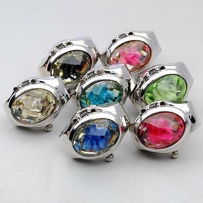 Elegant Popular Rose Rhinestone Charming Girl Finger Ring Quartz Time Watch D3