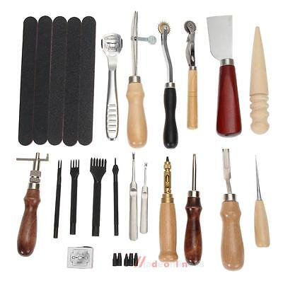 18Set Leather Punch Tools Craft Kits Stitching Carving Beveler Roulette Skiving