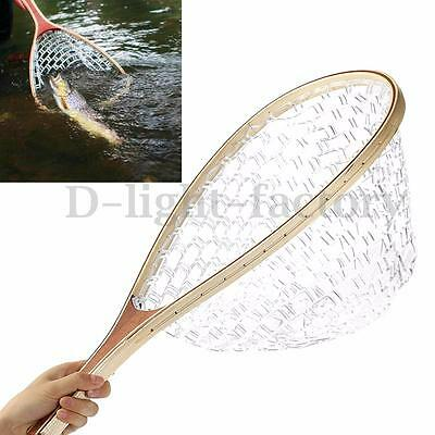 Wooden Handle Fly Fishing Landing Soft Net Mesh Trout Clear Rubber Catch Tackle