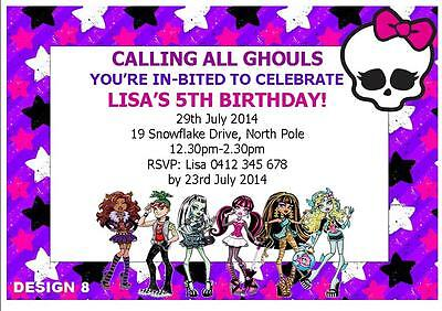 20 X MONSTER HIGH BIRTHDAY GIRLS PERSONALISED PARTY INVITATIONS