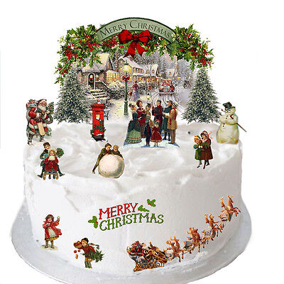 Stand Up Traditional Vintage Christmas Scene Edible Wafer Paper Cake Topper