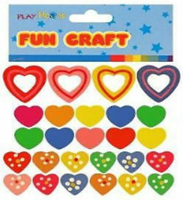 New Bag Of 26 Colourful Painted Heart Shape Wooden Beads Craft Hb