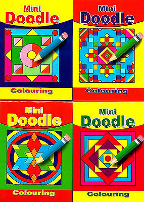 24 Mini Doodle P/Bs (4 Titles) (New & Sealed Small Colouring Party Bag Book Set)