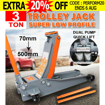 VEH-TOO 3 Ton Super Low Profile Hydraulic Trolley Jack Dual Pump Quick Lifting