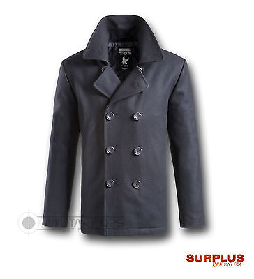Surplus Vintage Us Navy Style Pea P Coat Jacket Coat Wool Navy
