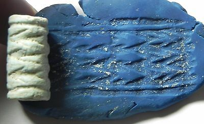 Zurqieh - Af659- Ancient Canaanite Faience Cylinder Seal.  1700 - 1550 B.c