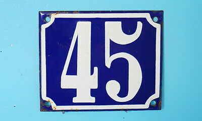 Antique French Steel Blue White Enamel Painted House Gate Number Sign Plaque 45