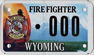 Wyoming FIRE FIGHTER Motorcycle Sample License Plate Tag ++ WY FF