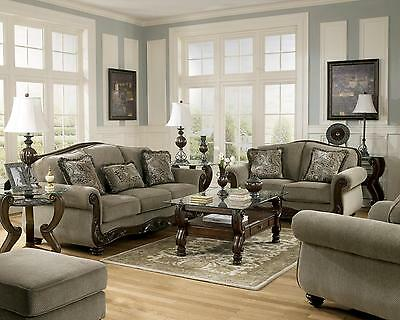 Ashley Martinsburg Living Room Set 4pcs in Meadow Upholstery Fabric Traditional